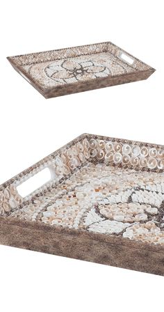 Inlaid seashells in a floral motif create a pretty platform for keys, wallets, smartphones, and other smalls within our Fleur De La Mer Tray. Use the tray as a catchall, or bring the shells' organic gl...  Find the Fleur De La Mer Tray, as seen in the Refined & Eclectic in Marrakech Collection at http://dotandbo.com/collections/refined-and-eclectic-in-marrakech?utm_source=pinterest&utm_medium=organic&db_sku=117038