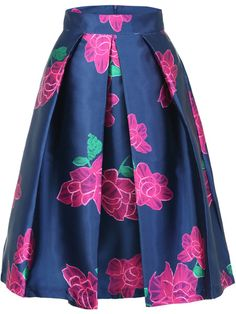 #Floral-print woven Polyester Midi #Skirt from #fashion #women #store