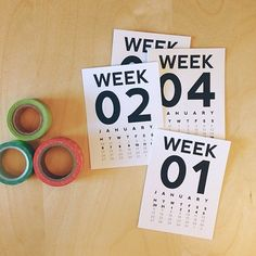Week Numbers 2014 Journaling Card Printable. Perfect for Project Life.