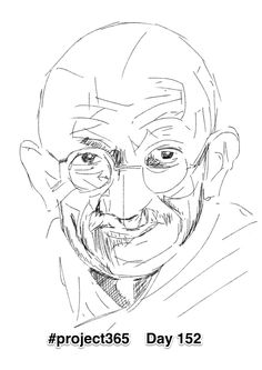 Day 152 'Ghandi' First sketch. I've come to the conclusion that Ghandi's face is the most beautiful face ever. It's was probably the sheer kindness and empathy that emanated out from him. Looking forward to getting to know the face well. #project365 #fabcow #francisleavey #beautifulfaces #ghandi