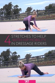 4 Stretches To Help With Hip Mobility In Dressage Riders – Horse exercises – Art Of Equitation Hip Mobility Exercises, Horse Exercises, Abdominal Exercises, Stretches, Hip Flexibility, Horse Riding Tips, How To Do Splits, Horseback Riding, Equestrian