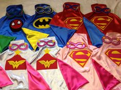 SuperHero  Capes with Matching Masks SUPERMAN, SPIDERMAN, BATMAN, All SuperHeros Capes for Boys  Girls Birthday Party Gifts