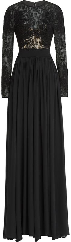 Elie Saab Embroidered Floor Length Gown with Lace and Silk