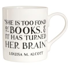 """""""She is too fond of books..."""" Mug Description: too fond of books? Of course we are! The perfect quotation for female book lovers printed on a perfectly designed mug. Details: bone china. Quotation appears on both sides of the mug. Free UK delivery if you spend over £30. Pin It Our Price: £9.95"""