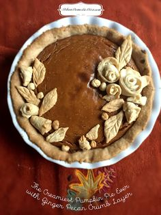 Baking for the holidays? The Creamiest Pumpkin Pie Ever with Ginger-Pecan Crumb layer right here.  www.urbandomestic... #pumpkin #pie #pumpkinpie #ThanksgivingRecipes #falldessert