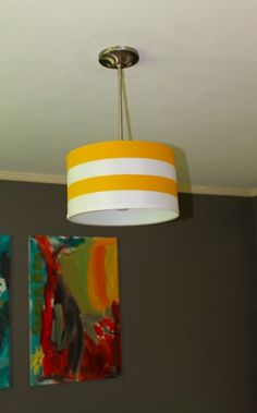 DIY Light fixture on the cheap! painted lampshade