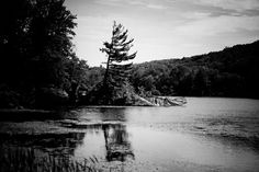 Undisturbed black and white photograph of a lake in NY