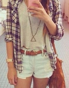 oatmeal striped tee, cutoff denim shorts, plaid button-up shirt, long statement necklace. country, comfy, casual, travel, skater, tomboy, kickback, lounge, camping, college, weekend, hangout, spring, summer, or fall outfit.
