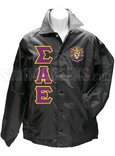 Black Sigma Alpha Epsilon crossing jacket with the crest on the left breast and the Greek letters down the right.
