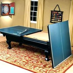 Ping Pong/ Pool table for Ryan – would love this in the game room…when it finally becomes a game room and not a playroom! Ping Pong/ Pool table for Ryan – would love this in the game room…when it finally becomes a game room and not a playroom! Casa Kardashian, Table Tennis Conversion Top, Custom Pool Tables, Pool Table Room, Diy Pool Table, Game Room Basement, Garage Game Rooms, Game Room Bar, Game Room Decor