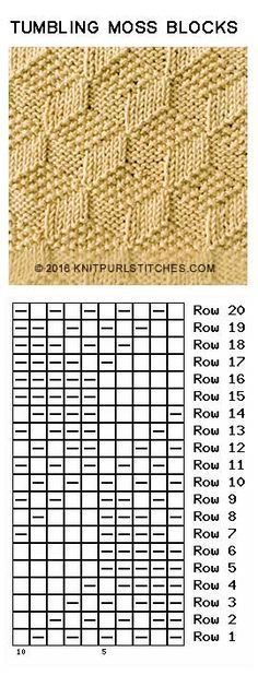 Just Knit and Purl 2019 Tumbling Moss Blocks. Just Knit and Purl The post Tumbling Moss Blocks. Just Knit and Purl 2019 appeared first on Knit Diy. Knitting Stiches, Knitting Charts, Lace Knitting, Crochet Stitches, Knit Crochet, Knitting Designs, Knitting Projects, Stitch Patterns, Knitting Patterns