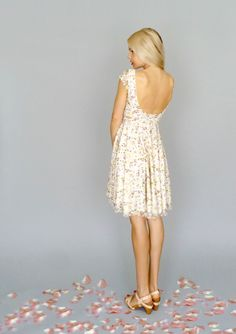 Faye: Cap sleeved floral stretch lace dress with flirty circle skirt--bridesmaids or rehearsal dress option!