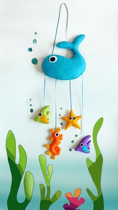 Under the Sea Felt Mobile / Wall Hanging - Babies / Children Room Decor - Plush Whale, Fish, Seahorse and Starfish - Christmas Gift Idea. via Etsy. Baby Crafts, Felt Crafts, Fabric Crafts, Diy And Crafts, Crafts For Kids, Sewing Projects, Craft Projects, Projects To Try, Decoration St Valentin
