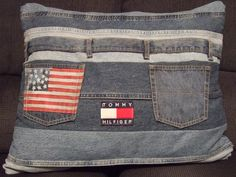 Throw pillow made from old blue jeans.