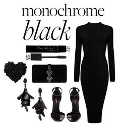 """Monochrome Black"" by milli927 on Polyvore featuring Yves Saint Laurent, Dsquared2, Oscar de la Renta and Christian Dior"
