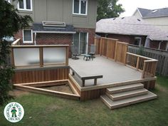 built in hot tub | Kodiak Decking in Toronto.Built in Hot tub with frosted glass privacy ...