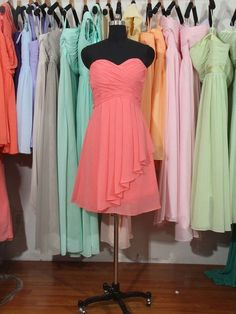 Classic Sweetheart Watermelon Chiffon Ruffles Knee-length Bridesmaid Dress - dressesofgirl.com