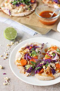 Thai Chicken Pita Pizzas | cookiemonstercooking.com