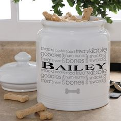 Adorable! Doggie Delights Personalized Dog Treat Jar