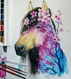 Horse art, stunning buckskin - Jonna Lamminaho (@scandy_girl) on Instagram: Decided to paint seasons so here's spring horse with flowering tree.