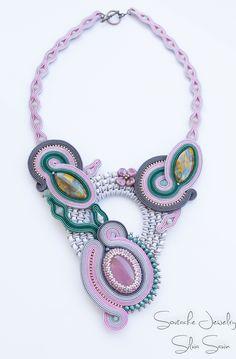 Unique handmade soutache necklace by Silvia Savin