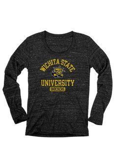 Wichita State Shockers Womens T-Shirt - Black Shockers Danville Long Sleeve Tee  http://www.rallyhouse.com/shop/wichita-state-shockers-570215?utm_source=pinterest&utm_medium=social&utm_campaign=Pinterest-WSUShockers $29.99