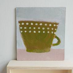 Olive mug with dots - still life artwork by Cathy Cullis