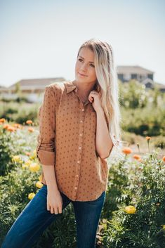 Collared shirt Long sleeves Detailed button on sleeves for rolling Buttons down the front Camel colored Nursing Friendly Collar Shirts, Collars, Lemon Top, Camel, Long Sleeve Shirts, Sleeves, Sweaters, Closet, Outfits