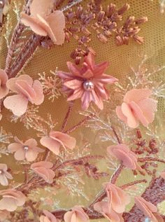 Floral bead and embroidery embellishments #TextileForum #Embellishment #Textiles #Fabric #Materials