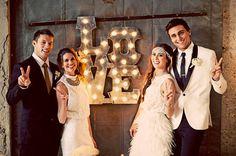 Wedding LOVE Sign Polished Steel Carnival by WestVintageTradingCo