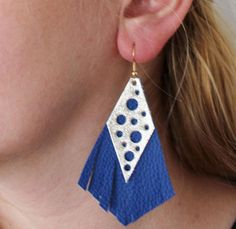 Blue and gold leather earrings. The lenght of them is approximately 7 cms. Colors might appear slightly different on the screen than in real life. My creations come from a smoke and pet free environment.