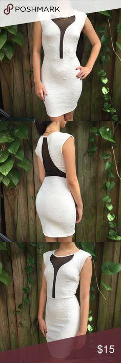 WHITE W BLACK MESH BODYCON DRESS Model is 5'0. Black areas are sheer(see-through) Dresses Midi