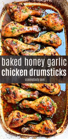 Baked chicken drumsticks that are so good that you will forget any other drumstick recipe Beautifully browned richly flavored juicy and fall-off-the-bone tender These baked drumsticks are a hit every time Delicious and so addictive Baked Honey Garlic Chicken, Baked Chicken Drumsticks, Oven Baked Chicken, Baked Chicken Recipes, Easy Chicken Drumstick Recipes, Cooking Drumsticks, Bourbon Chicken, Onion Chicken, Chicken Wings