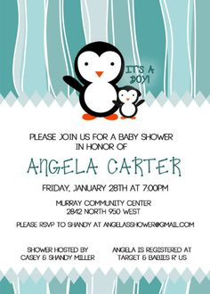 penguin baby shower invitations
