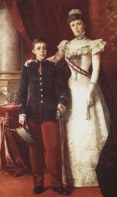 Maria Christina von Österreich with her son Alfonso