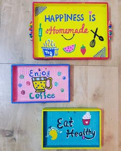 All handmade kitchen hangings are ready to hang🤗🤗 Diy Crafts For Home Decor, Diy Arts And Crafts, Handmade Home Decor, Diy Wall Decor, Indian Room Decor, Ethnic Home Decor, Kitchen Canvas, Handmade Kitchens, Art N Craft
