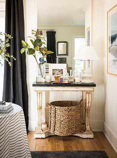 """Marrying European furnishings with ocean photography and woven accents, Michellehas truly nailed the mix. """"I tried to bring in a touch of the barefoot bohemian California look that I love so much… anything that feels and looks like Jenni Kayne or Jessica de Ruiter. I love their aesthetic."""""""