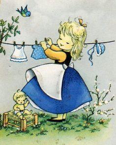 Dolly e eu. Dia de lavar roupas azuis.