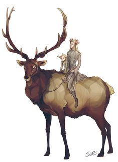 """Thranduil and little Legolas from """"The Hobbit"""" on their gigantic deer/steed - Art by BOBPUL"""