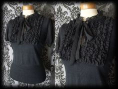 Gothic Black Frilled WHIMSICAL Tie Blouse Top 12 14 Victorian Governess Vintage - £29.00
