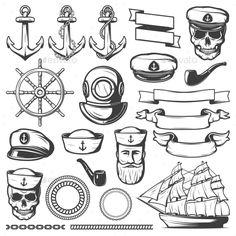 Vintage Sailor Naval Icon Set