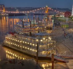 Early Morning Dock Scene by JIm Simpson on Capture Cincinnati // Riverboats docked in Cincinnati at the 2006 Tall Stacks Celebration