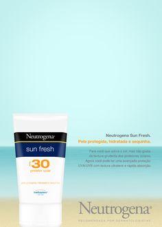 Anúncio Neutrogena Sun Fresh - Adobe Photoshop | Após vetorizar frascos de produtos, sempre gosto de elaborar os anúncios como treinamento.