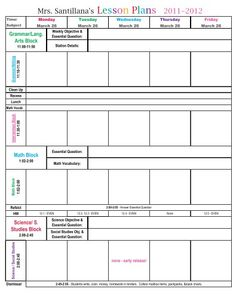 Free Printable Weekly Lesson Plan Template Ms Greene My Own Room - Unique calander templates scheme