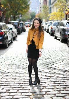 Yellow Ruffled Jacket Over Black Dress