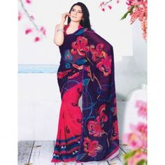 Dual shade saree with floral printed for $30