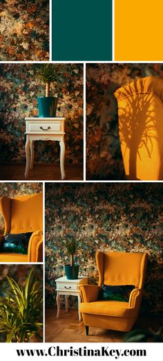 Interior Inspiration - floral wallpaper, yellow wing chair sequin pillow and white shelf - the most Diy Interior, Interior Photo, Best Interior Design, Interior Design Living Room, Rattan, White Shelves, Wing Chair, Cool Walls, Chair Design