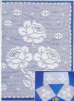 Филейное вязание: Набор салфеток с розами