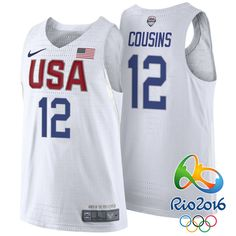Rio 2016 Olympics USA Team #12 DeMarcus Cousins White Authentic Jersey
