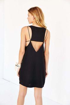 A black dress with a lattice back.